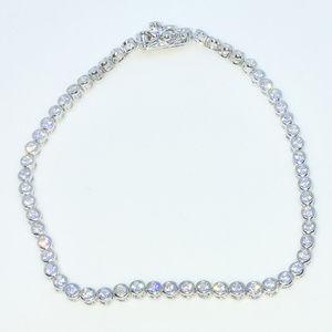 Silver 7 inch Rows of Round CZ Tennis Bracelet